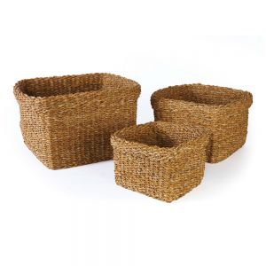 Set of 3 Seagrass Square Baskets