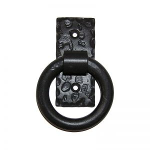 Small Smooth Pull Ring on Rectangular Back Plate - Flat Black