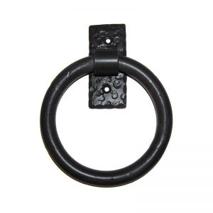 Smooth Door Knocker/Pull Ring on Rectangular Back Plate - Flat Black