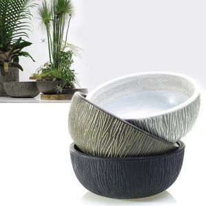 Tinley Ceramic Low Bowl Planter - 13 Inch- Black