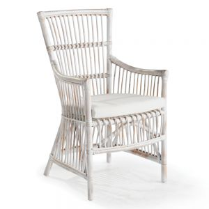 Lilith White Rattan Arm Chair