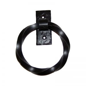 Twisted Door Knocker/Pull Ring on Rectangular Back Plate - Flat Black