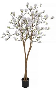 Artificial Flowering Magnolia Tree with White Blooms 79 inches Tall