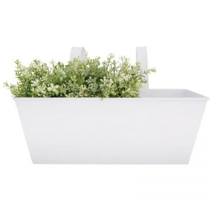 White Rectangular Balcony Garden Planter