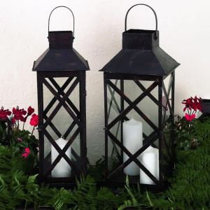 X Design Brown Black Metal Lantern (2 Sizes)