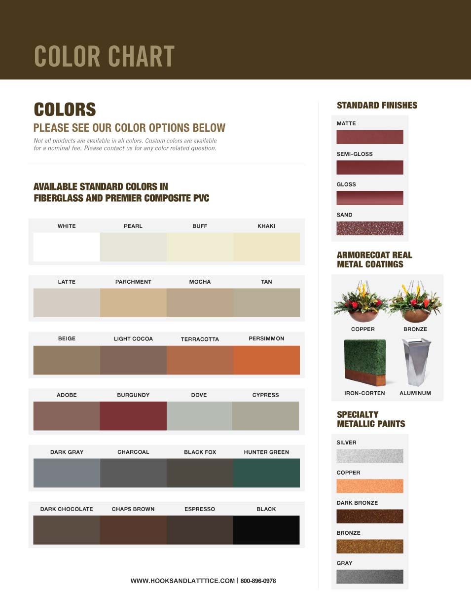 Fiberglass and PVC Color Chart
